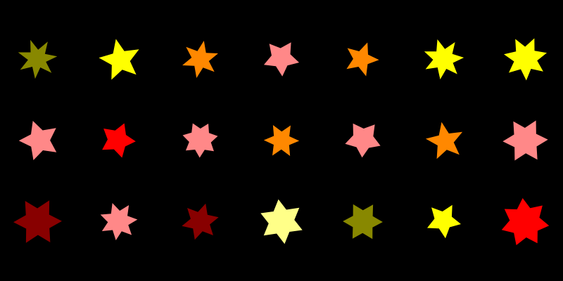 A grid of 21 stars on a black background. The stars are roughly the same size, with 5 to 7 points, and red to yellow coloration.