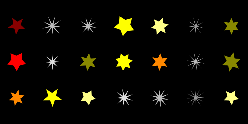 A grid of 21 stars on a black background. Half the stars are grey, very spiky, with many points. The other half look like the stars in Figure 4: red to yellow, 5 to 7 points.