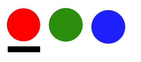 Cryptic controls. Red button (with slot beneath), green button, and blue button.