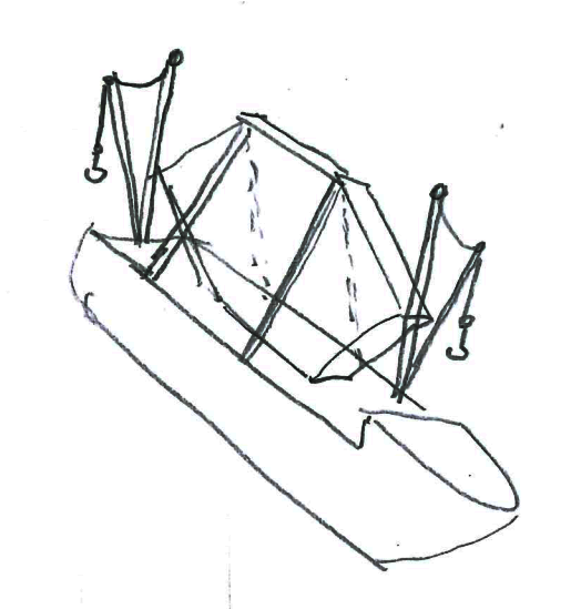A pencil drawing of a ship carrying a huge hexagonal mirror. The ship has a crane at the front and the back. The mirror is carried vertically and held by straps.