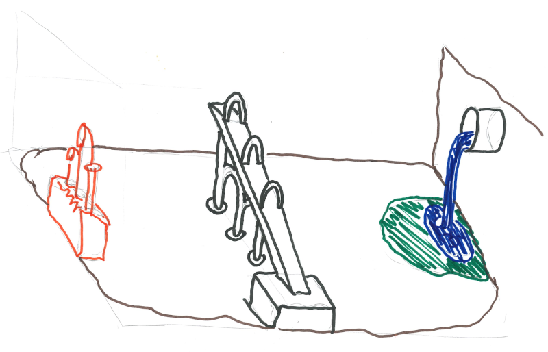 A map of the Goblin city of Swallet. The city is at the bottom of an underground carvern. On the eastern wall, a waterfall falls into lake with a park around it. In the middle of town, a big ramp leads down from the surface to a building at the south edge of town, with big signs advertising Fafnir's Fight Club and urging all comers to challenge the dragon. At the west wall of the cavern is a large building with lots of pipes coming out of it. Some kind of industrial facility.