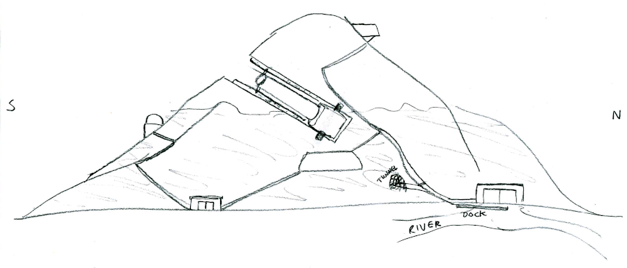 A mountain with a slot cut all the way through, with some kind of machine inside. A few buildings are connected by stairs around the mountain.