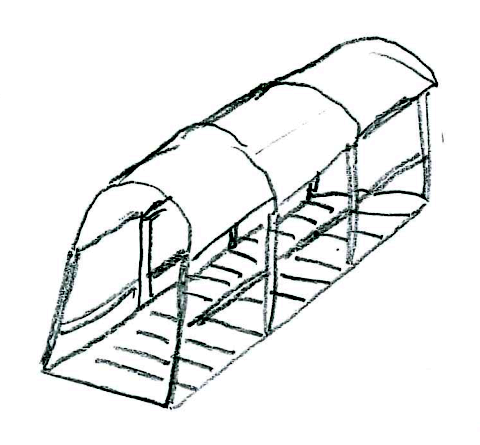 A pencil sketch of stairs on the side of Macleod's mountain with metal railings and an awning.